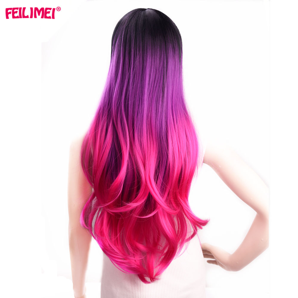 Feilimei Synthetic Ombre Wigs Pink Red Gray Purple Heat Resistant Hair Extensions 26 Inch Long Wavy Females Cosplay Wigs image