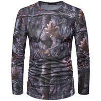 Men Fitness T Shirt Camouflage Fashion Tee Shirt Men Long Sleeve T Shirt High Quality Army