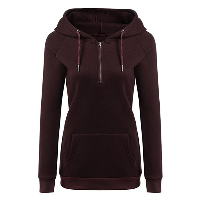 Autumn Women Hoodies Long Sleeve Sweatshirts Zipper Warm Pullovers Female Hoody Sudaderas Mujer WS1248C