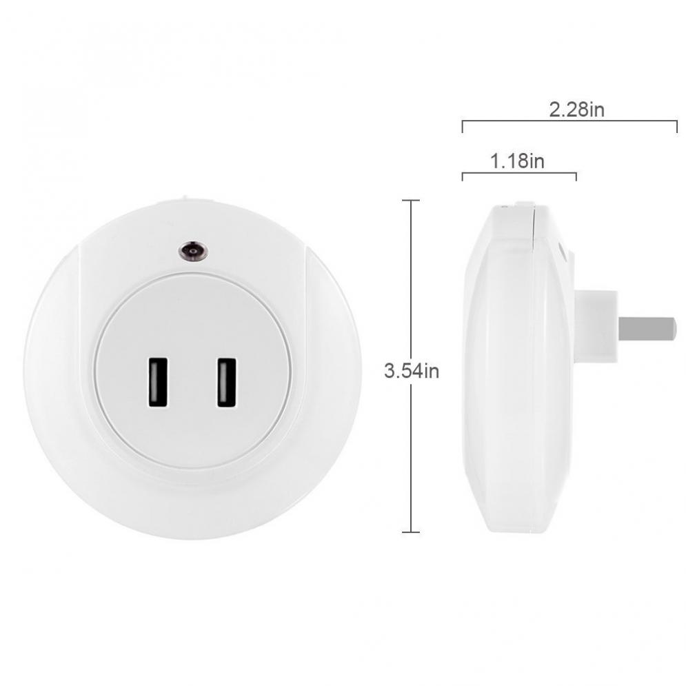Sale Smart Design LED Night Light with 2A Dual USB Port Wall Plate Charger Perfect for Bedroom Bedside