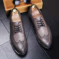 England Fashion Men Genuine Leather Brogue Shoes Pointed Toe Carved Bullock Flats Shoe Casual Vintage Breathable Comfortable Man