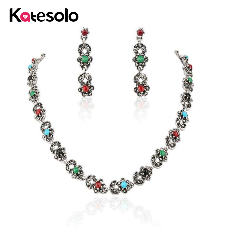 Earring Jewelry-Set Wedding-Necklace Crystal-Mosaic Turkish Silver-Color Fashion Gorgeous