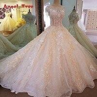 Angel Tree Gorgeous champagn bruidsjurk 3D bloemen korte mouwen baljurk kant trouwjurk vestidos de noivas real foto