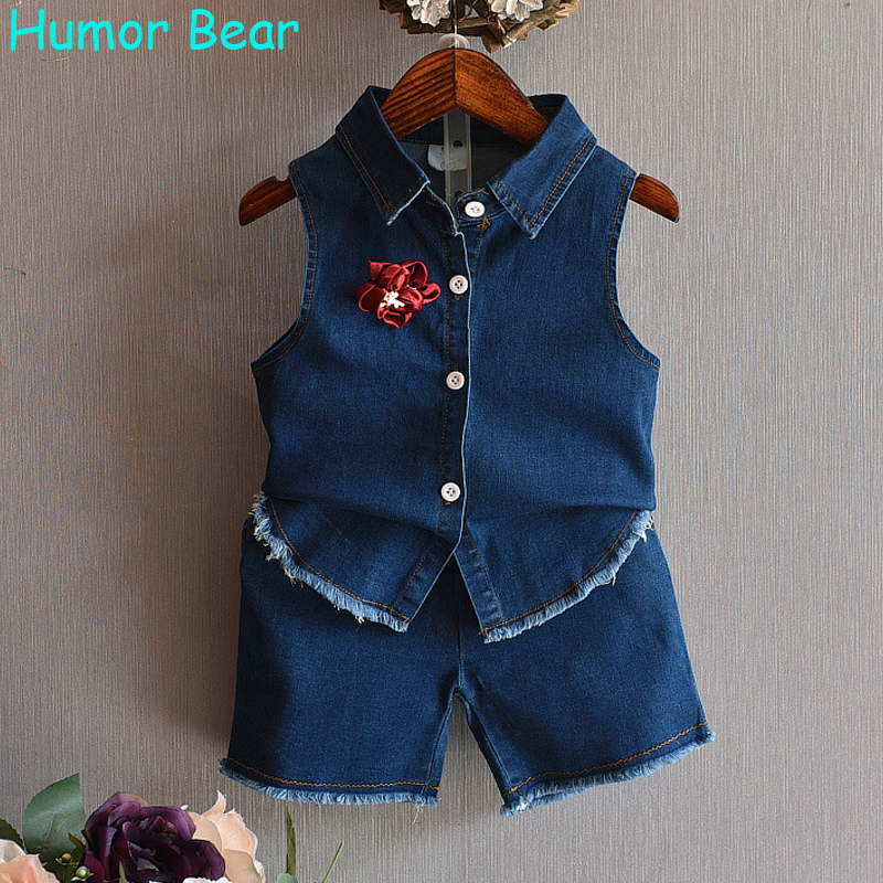 Humor Bear NEW Baby Girl Set Summer Fashion Style Girls Clothes Cowboy Vest+Shorts 2Pcs Suit Kids Clothing Set Casual Suit