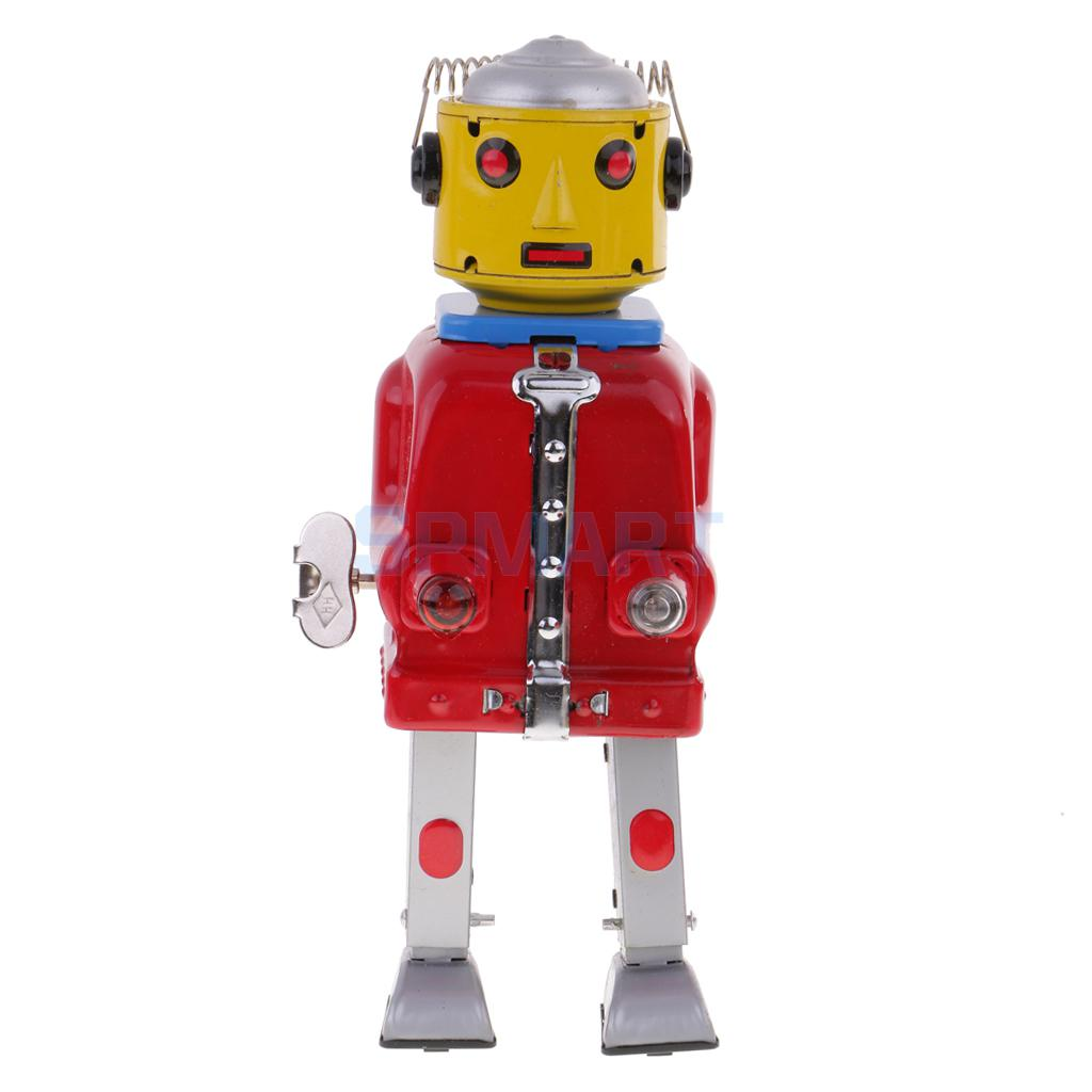 все цены на Retro Vintage Wind Up Clockwork Mechanical Walking Mr.Robot Tin Toy Adult Collectible Gifts