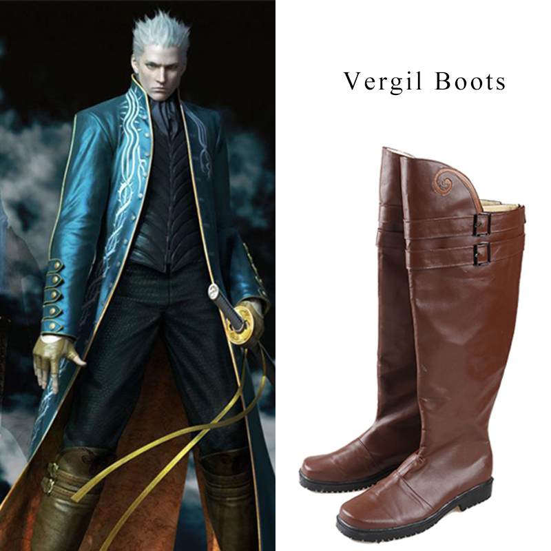 Vergil Cosplay Boots Devil May Cry Cosplay Shoes Men High Boots Hot Game Halloween Christmas Party Accessories For Male