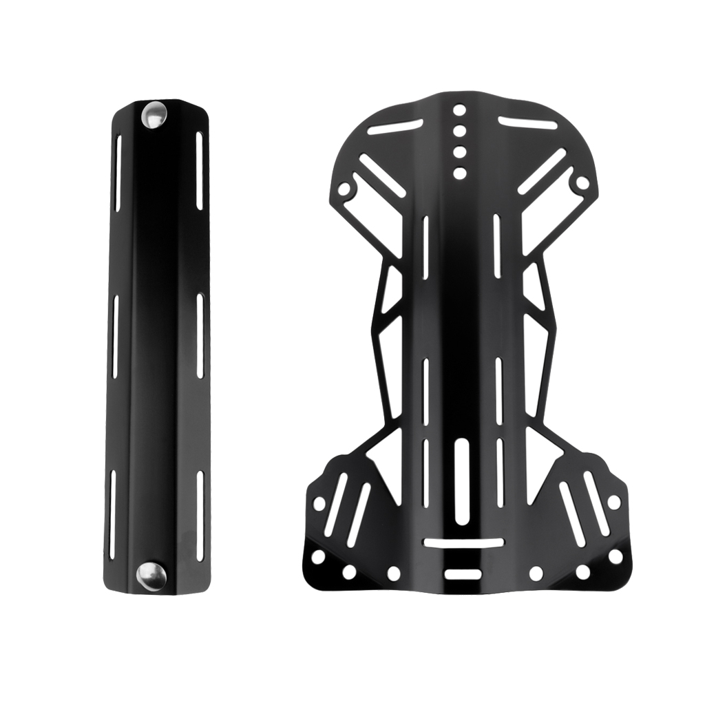 Universal Aluminum Backplate with Single Tank Adapter for Scuba Diving Diver BCD Harness System Gear Kit Set