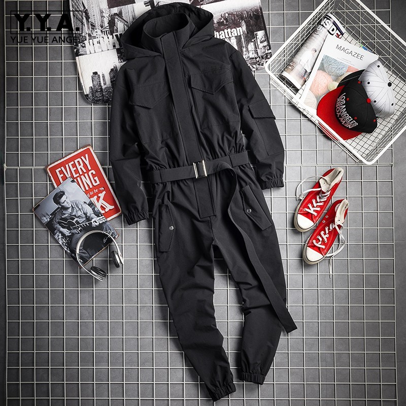 2019 New Mens Hip Hop Cargo Jumpsuit Fashion Black Sashes Joggers Overalls Multi Pockets Work Rompers Streetwear Korean Clothes