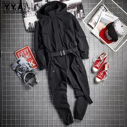 Nuovo Mens Hip Hop Cargo Tuta Nero di Modo Fiocchi e Fasce Jogging Tute e Salopette Multi Tasche Lavoro Body e Pagliaccetti Streetwear Vestiti Coreani