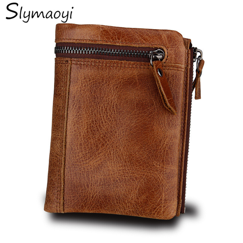 Slymaoyi Fashion Genuine Leather Men Wallet Brand Design Short Wallet High Quality Male Wallets With Coin Bag Brown Small Pures slymaoyi classical men wallets genuine leather short wallet fashion zipper brand purse card holder wallet man with coin bag