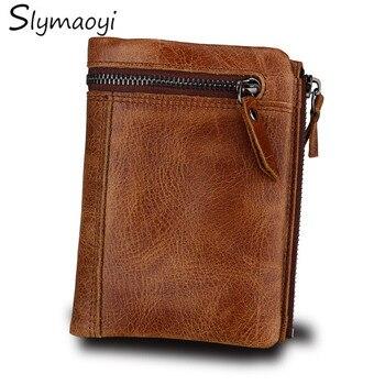 Slymaoyi moda de cuero genuino de los hombres Cartera de diseño de marca cartera corta de alta calidad carteras de hombre con bolsa de monedas marrón pequeños Pures