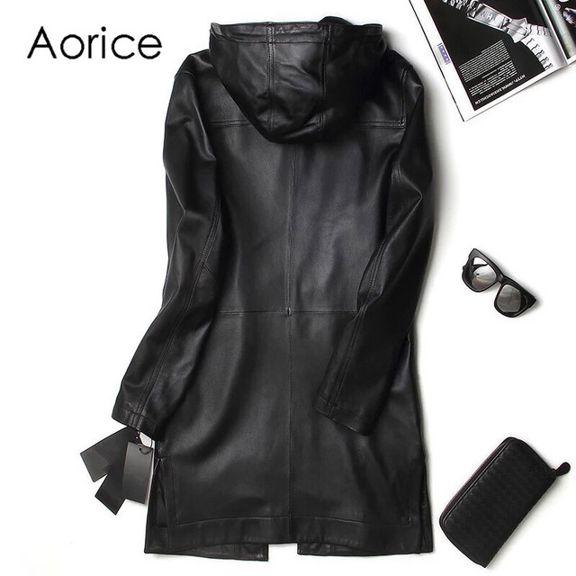 Aorice MT831 New Fashion Leather Jacket Men Long Hooded leather Coats Men Slim Fit Youth Mens Motorcycle leather coat  Plus Size