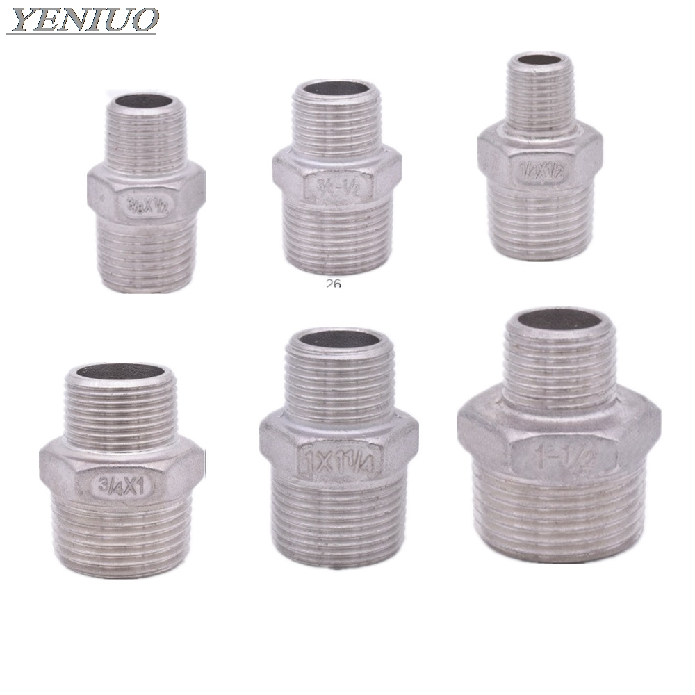 Hex Nipple Union 304 Stainless Steel Pipe Fitting Connector Coupler Water Oil 1/8