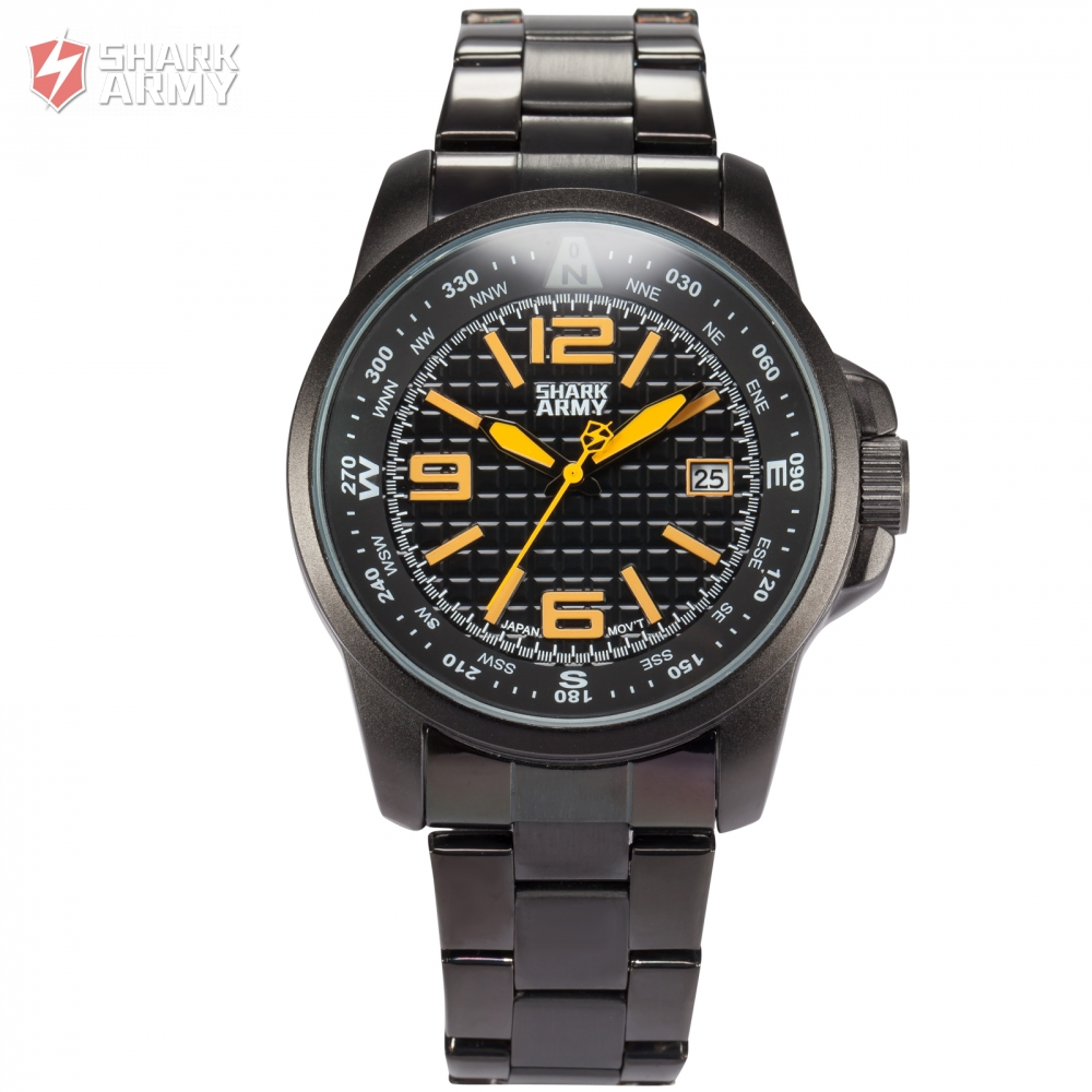 Shark Army Date Display Full Stainless Steel Band Relogio Black Yellow Quartz Clock Men Sport Military Wrist Watch Gift / SAW133