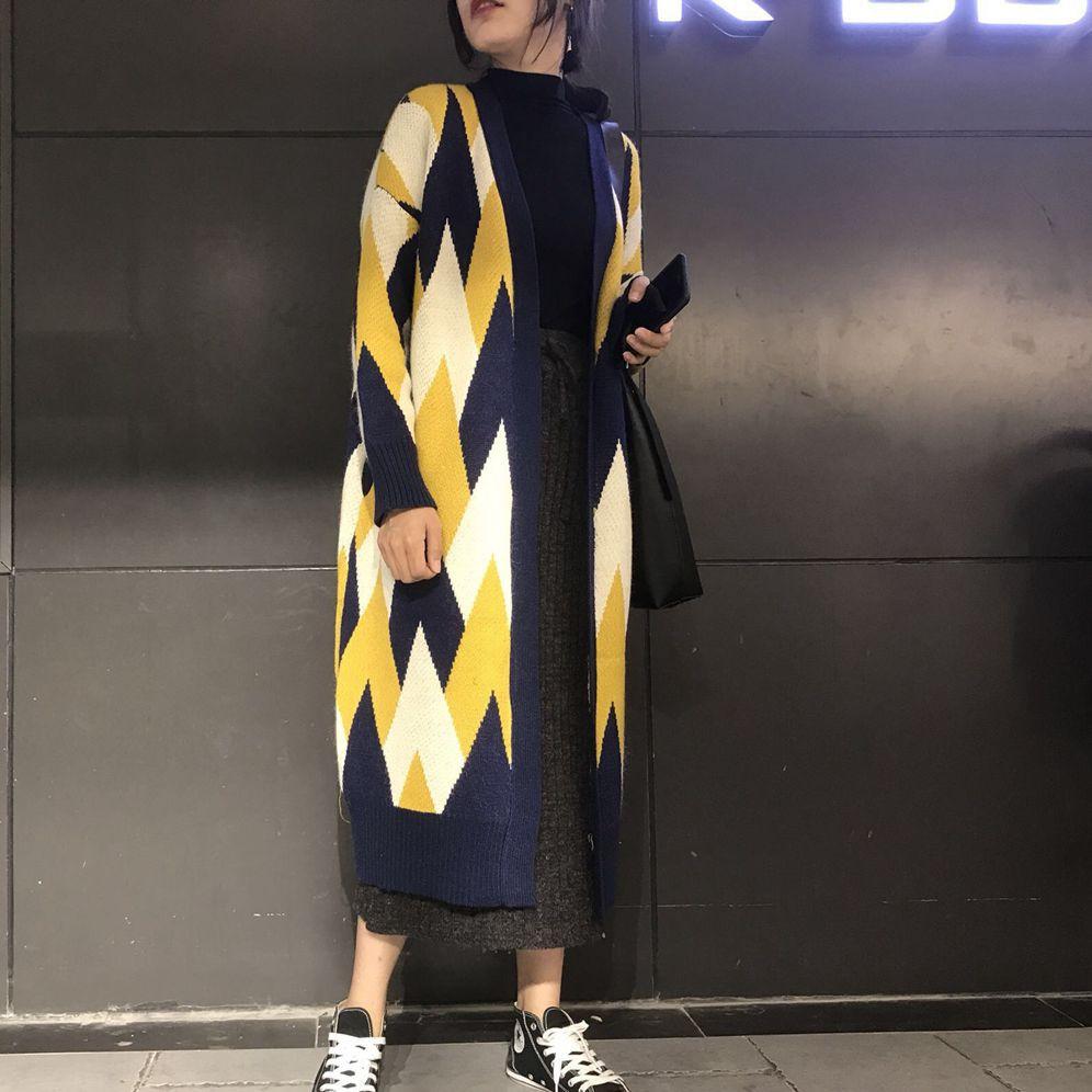 Long Col Femmes Géométrie Longues Taille Pull En Épais Grande Cardigan Hiver À Black Lâche Manteau Hauts yellow De 2019 Manches Mode Tricoté Automne V 7mIbg6yYfv
