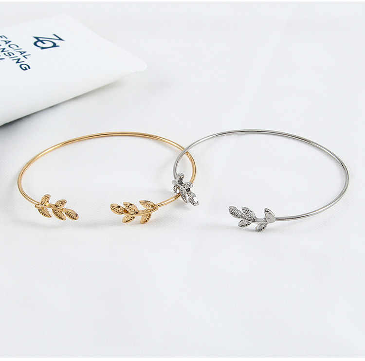 1Pcs Leaves Opening Alloy Cuff Bracelets for Women Gold Silver Color Bracelets Female Jewelry