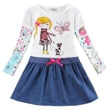 купить Girl long sleeve dress spring autumn cotton embroidered girl figure figure child wearing denim hem dress H5926 по цене 406.42 рублей