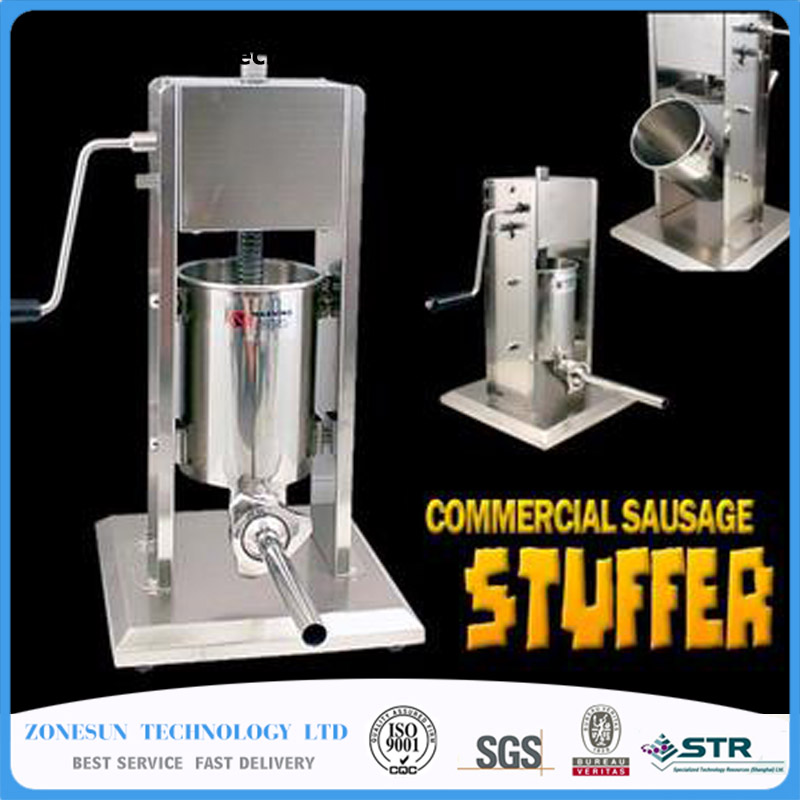 ZONESUN Homemade Sausage Meat Stuffer Stainless Steel Manual Sausage Filling Machine Kitchen Tool Sausage Maker zonesun manual sausage meat fillers machine food maker hand operated sausage machines for sausage meat poultry