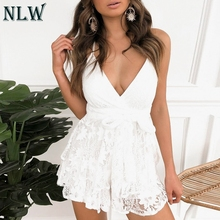 hot deal buy nlw white lace feminino women playsuits rompers party bow spaghetti strap rompers casual short jumpsuits rompers