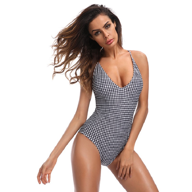 Sexy One Piece Swimsuit 2018 Bikini Women Push-up Padded Monokini Trikini Plaid Printed Swimwear Female Beachwear Bathing Suit