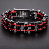 Davieslee 18mm Heavy Men's Bracelet Biker Jewelry 316L Stainless Steel Bracelet Male Wristband Party Gift Jewelry DLHBM54