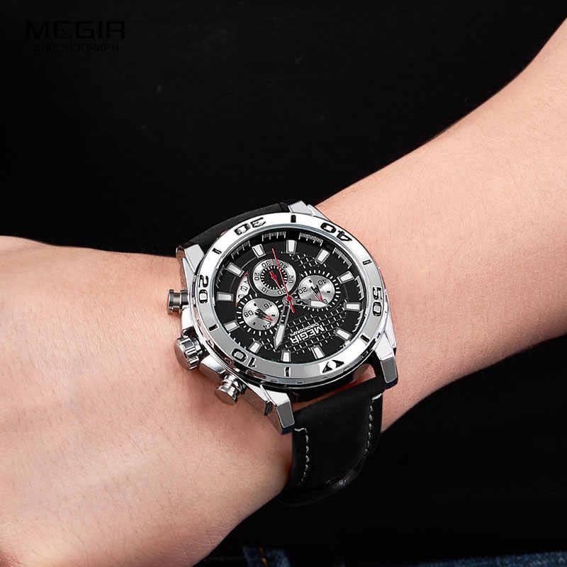Megir Mannen Leger Sport Chronograaf Quartz Horloges Lederen Band Lichtgevende Waterdicht Horloge Man Relogios Klok 2094 Zilver