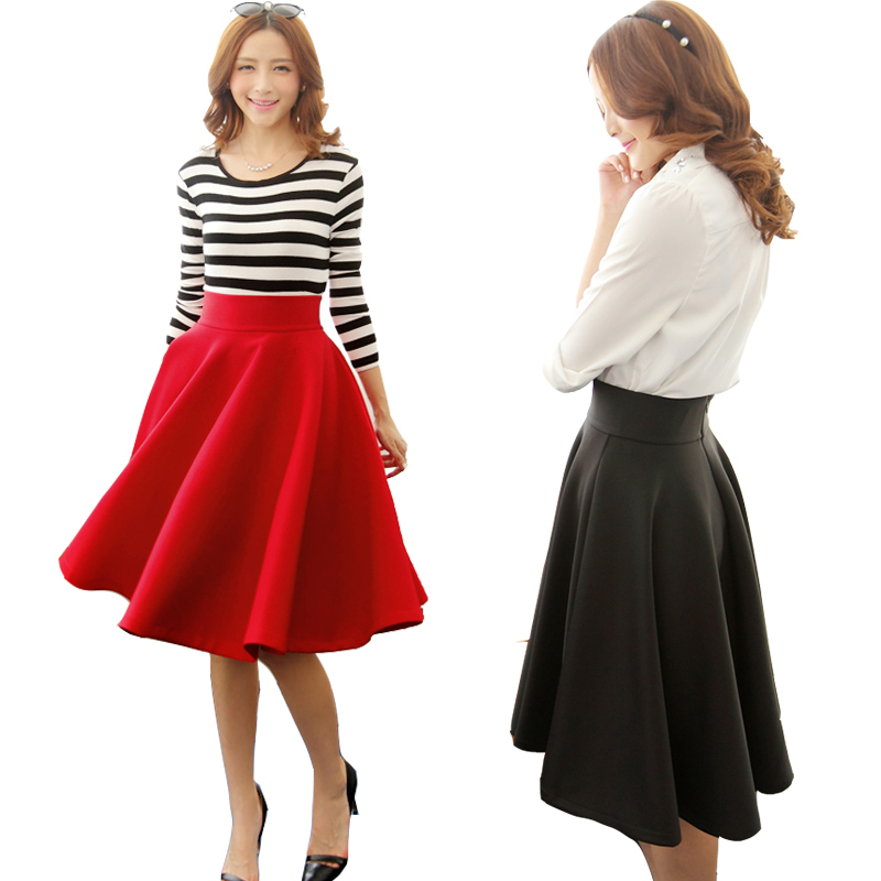 Aliexpress.com : Buy Women black midi skirts autumn winter satins ...