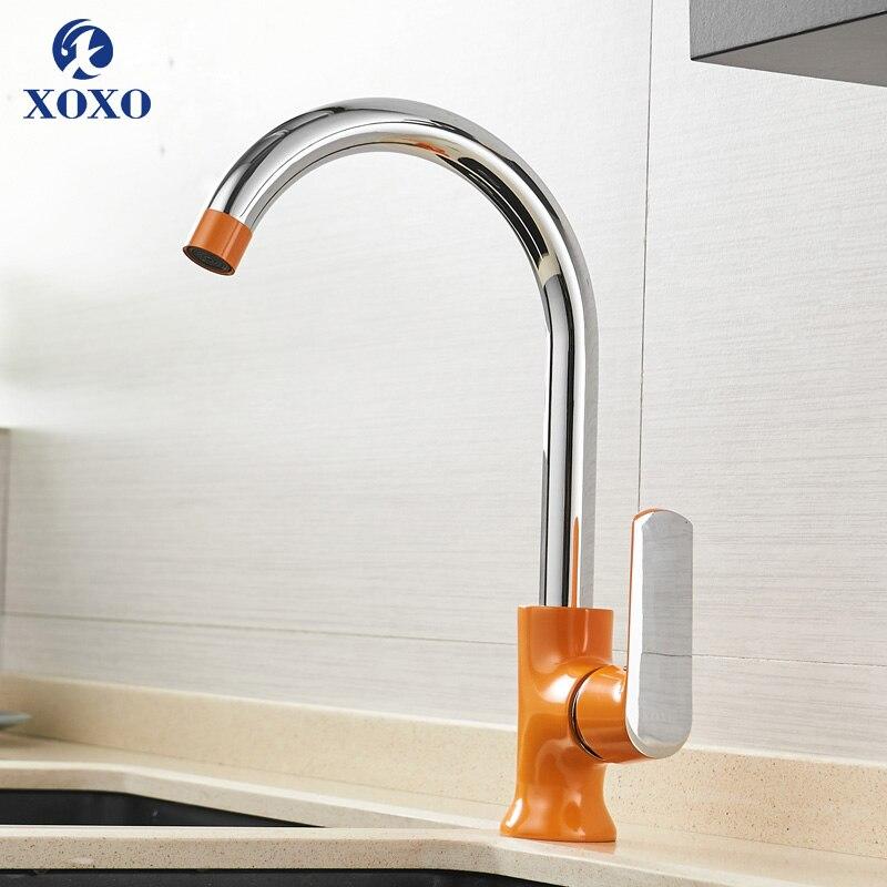 XOXO Cozinha Quente e Fria da Torneira Rotação de 360 Graus Branco Laranja Verde Moda Estilo torneira de Água Torneira Cozinha Misturador 20021-1R