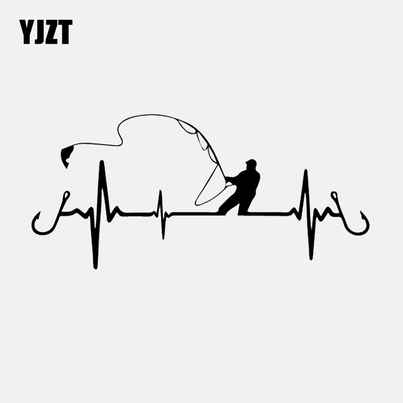 YJZT 16.7CM*7.7CM Car Sticker Heart Fishing Vinyl Decal Black/Silver C24-0642