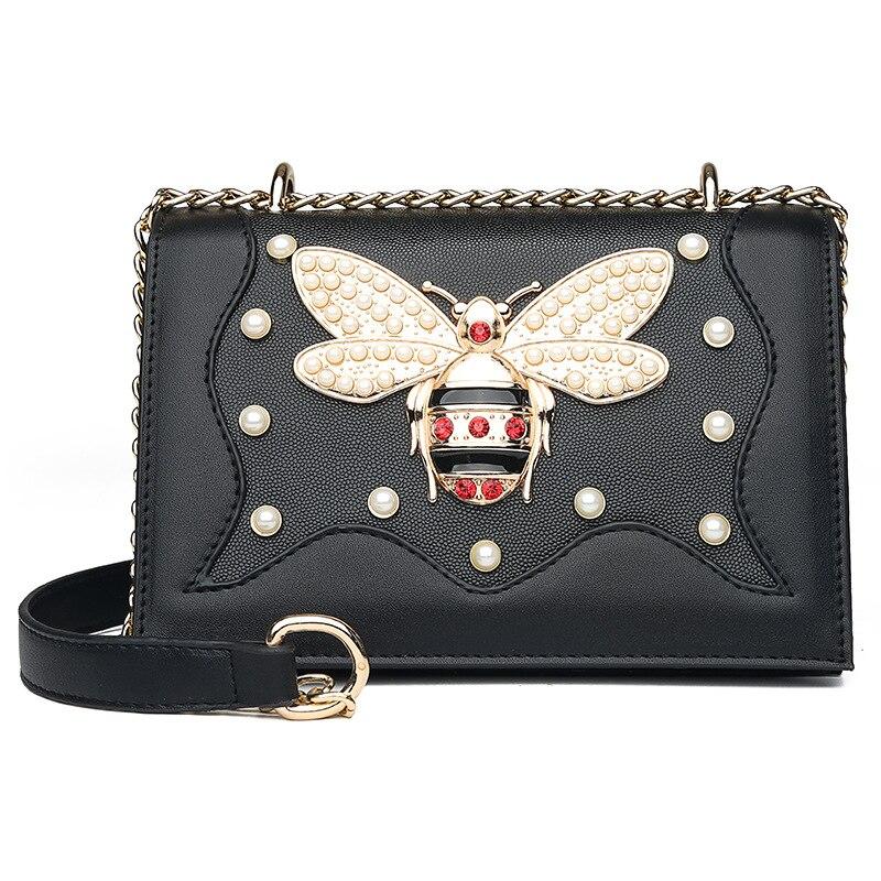 Lady Bee Pearl Crossbody Shoulder Bag Female White Black Leather Chain Flap Handbags 2019 Luxury Brand Messenger Bags for Women