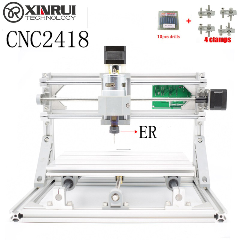 CNC 2418+ER spindle GRBL DIY CNC laser machine,work area 24x18x4.5cm,3 Axis Pcb Milling Machine, Wood Router,Pvc Mill Engraver drizzte brand men stretch denim slim jeans black blue fashion trendy trousers pants size 33 34 35 36 38 40 42 for men s jean