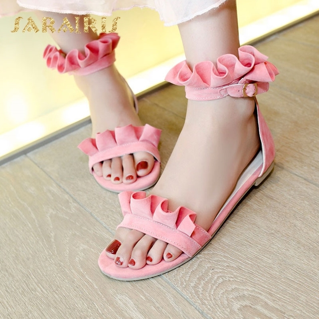 909e8275db765 SaraIris fashion ankle strap flat sole open toe sweet pleated flower  decoration summer shoes woman party wedding casual sandals