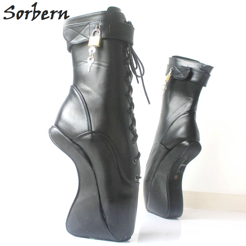 Sorbern Sexy Unisex Half Boots 18CM/7 High Heel Heelless Boots For Women Sexy Fetish Shoes Ballet Heels Lockable Ankle Boots sorbern royal blue metallic ankle boots for women ballet high heels padlocks exotic dance party shoes sexy fetish high heel shoe