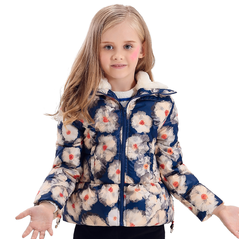 girl coat winter Floral Printing Baby Girls Winter Coats Wool-like Collar white duck Down Parkas Jackets Kids Clothes girl winter coats 2018 cat printing and jackets kids outwear warm down jacket girls clothes parkas children baby girls clothing