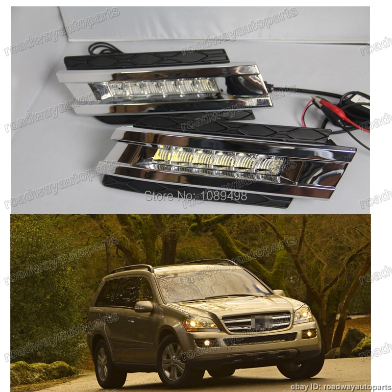 1 Set High Quality Daytime Running Light LED DRL Fog Driving Lamp for OE Mercedes Benz GL450 X164 2006-2009 high quality h3 led 20w led projector high power white car auto drl daytime running lights headlight fog lamp bulb dc12v