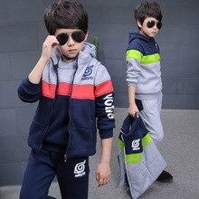 2016 Зима ребенок мальчик утолщение Huoying Дэвид одежда наборы дети мода полосой уличная трех частей костюм
