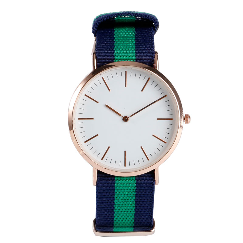 Sport Cool Stripe Nylon Fabric Band Strap Rose Gold Case Women Men Simple Modern Trendy Casual Fashion Analog Wrist Quartz Watch novel design 2015 hot sell men women quartz wrist watch fashion woman cowboy fabric band wrist watch