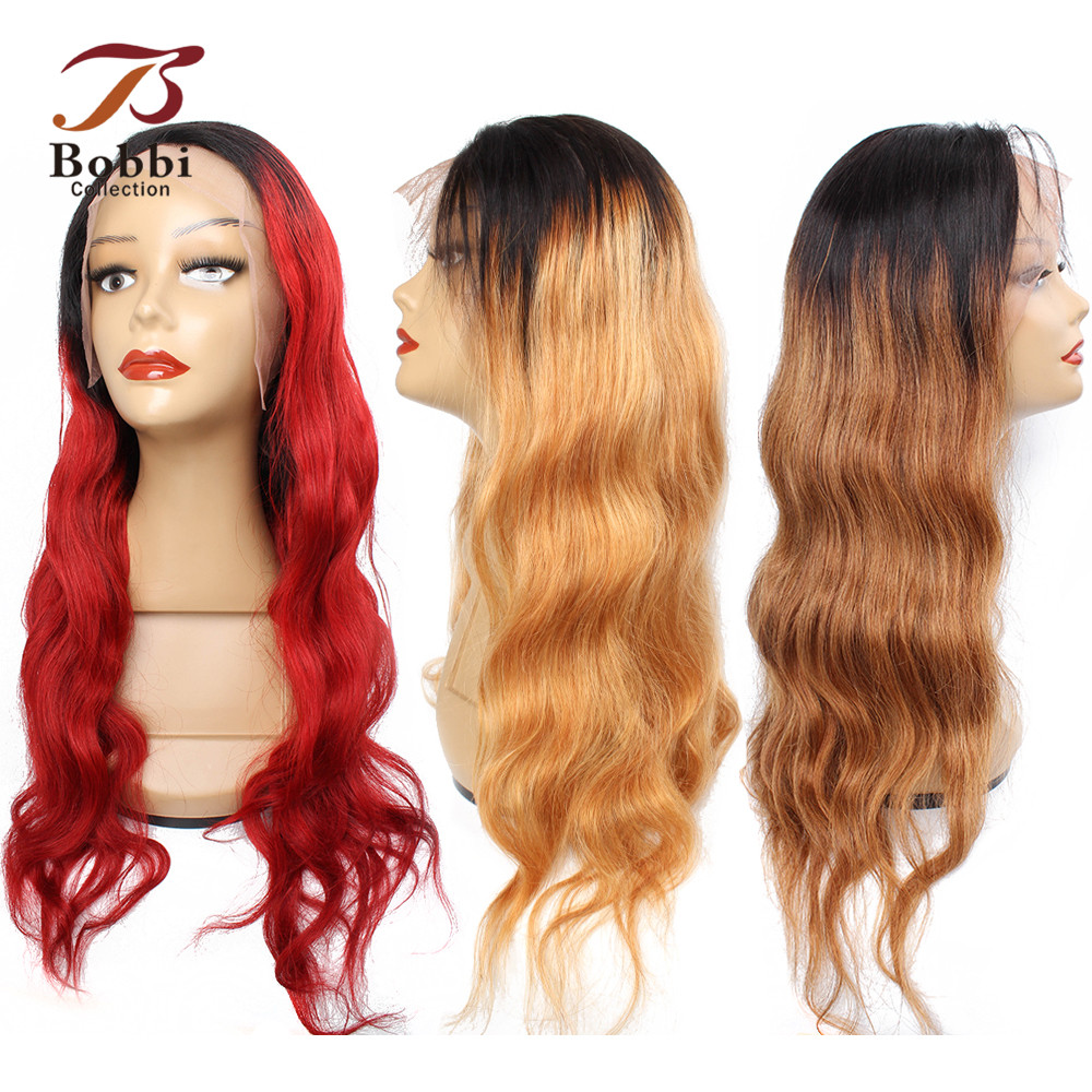 BOBBI COLLECTION 1B 27 Ombre Honey Blonde 4x13 Lace Front Human Hair Wigs Pre-Plucked Indian Body Wave Non Remy Hair