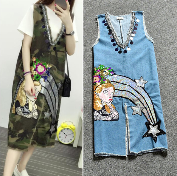 Buy Cheap Fashion Ladies Denim Dress Women Cute Cartoon Beauty Girls Sequined Denim Overalls Cut Off Sleevless Camouflage Jeans Dress NZ19