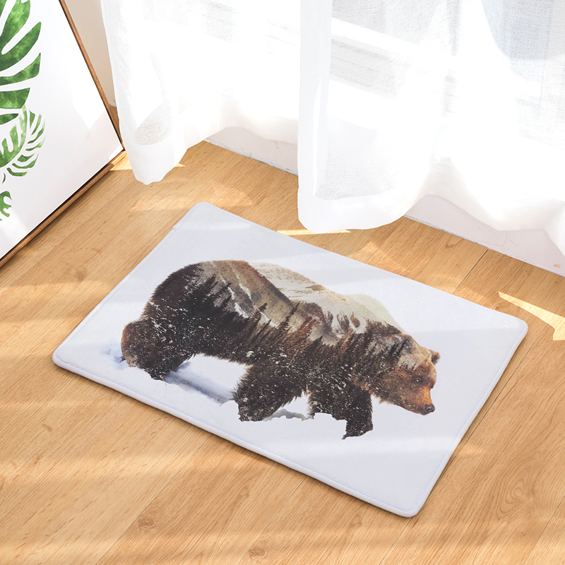 Awesome Anti Slip Floor Carpet Mat Bear Animal Forest Scenery Print Doormat  Bathroom Kitchen Entrance Rugs Home