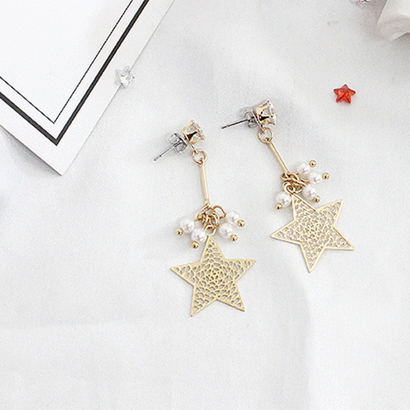 SANSUMMER Pure Copper Hollow Five Pointed Star Pearl Water Drill Long 2019 New Fashionable Ear Studs Temperament Female 6345 in Stud Earrings from Jewelry Accessories