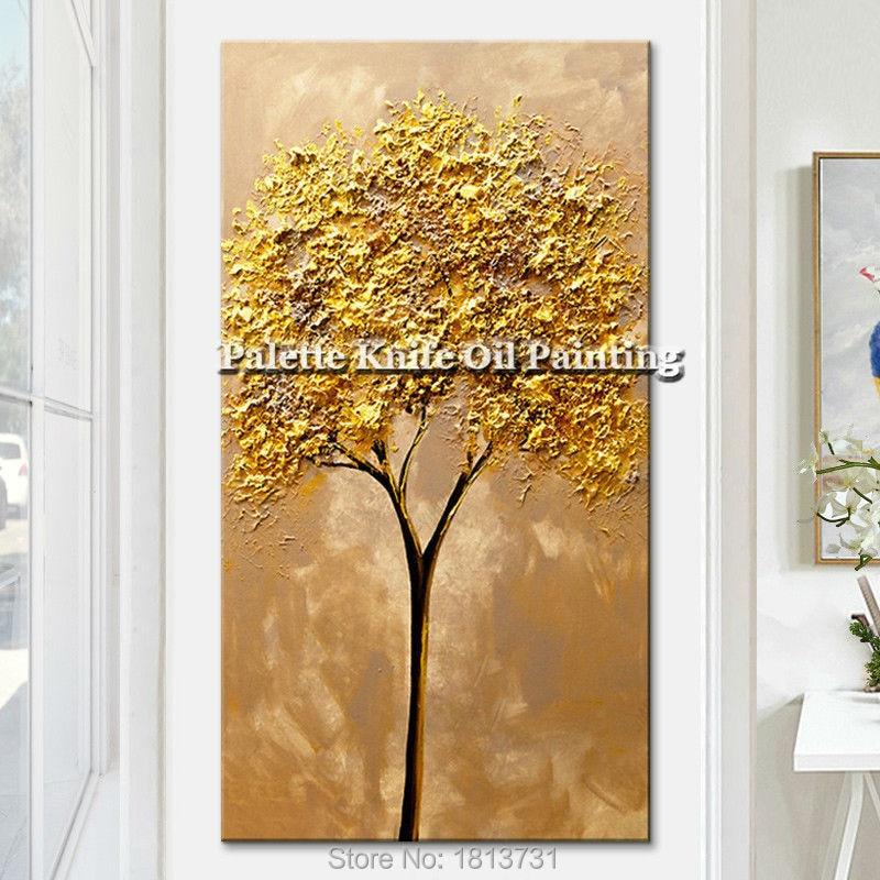 Moderní ručně malované paletový nůž 3D textury Květ a strom na plátně Olejomalba Nástěnné obrazy pro obývací pokoj dekorativní 4