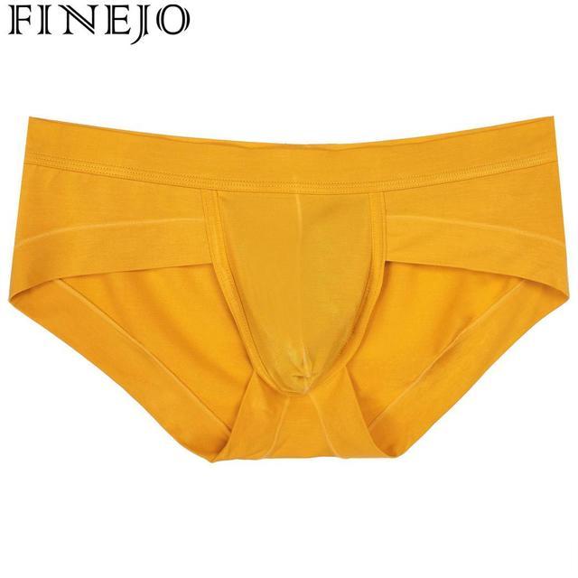 FINEJO Men Briefs Cotton Pure Color Sexy Trunks Men Underwear Cuecas Gay Shorts