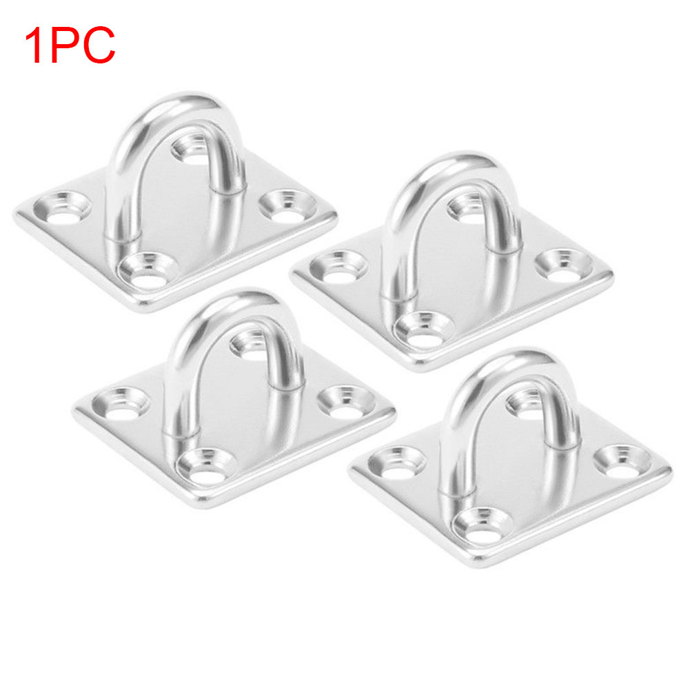 4 Holes With Ring Stainless Steel Marine Boat Deck Hardware Eye Plate Rope Fixing Rectangle Yacht Accessories