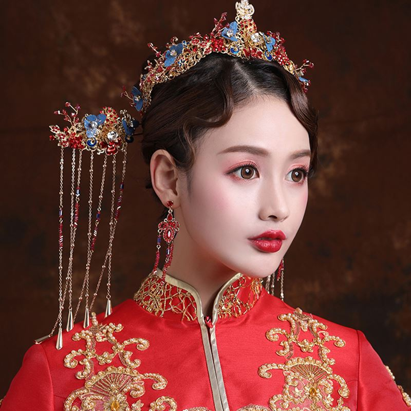 Traditional Chinese Red Wedding Headpiece Costume Blue Butterfly Hairpin Beaded Bridal Hair Jewelry 1