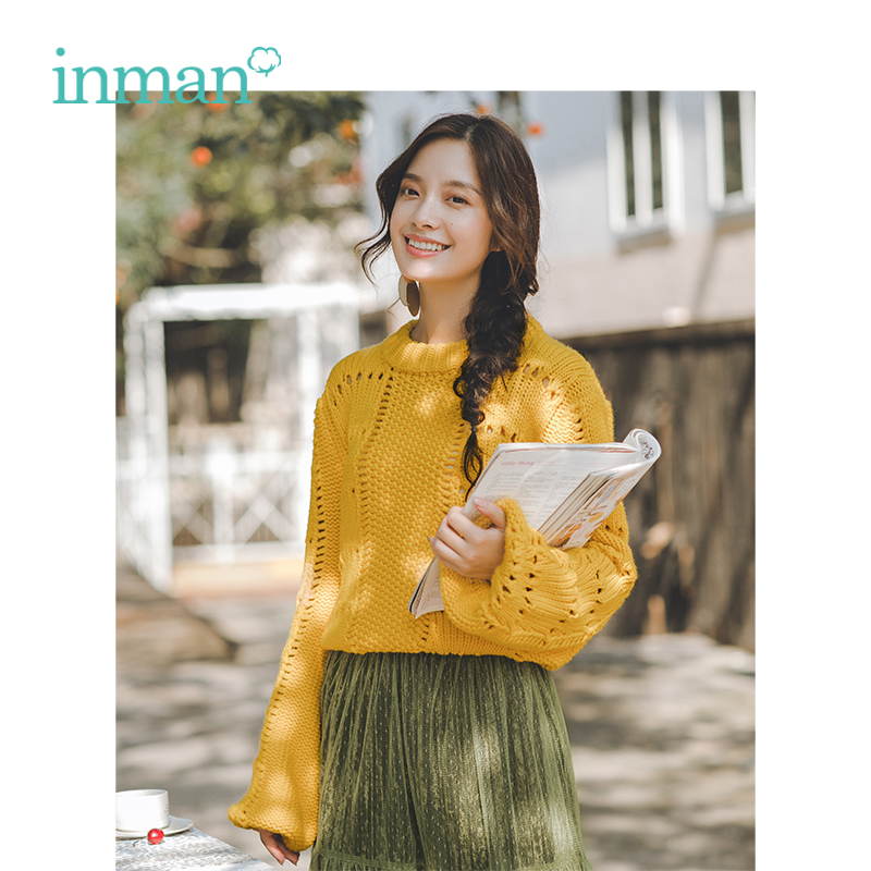 INMAN Spring Spring Autumn Sweaters Hollow Out Lantern Sleeve Thick Line Pullover Women