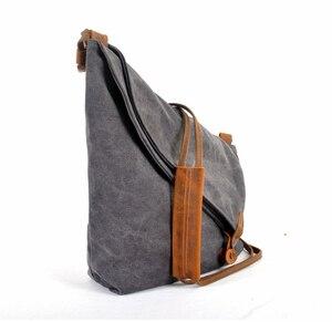 Image 3 - Korean Retro New Vintage Mens military canvas +leather Shoulder Bag Mens Messenger Bag Men Crossbody Bag male Sling Bag