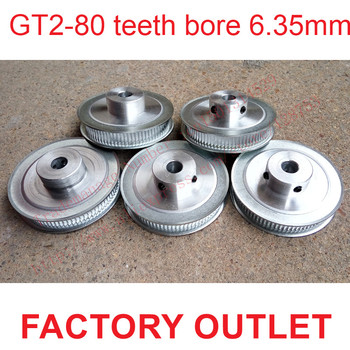 whole sale 5pcs 80 teeth Bore 6.35mm GT2 Timing Pulley 80 tooth fit width 6mm of 2GT timing Belt High quality Free shipping