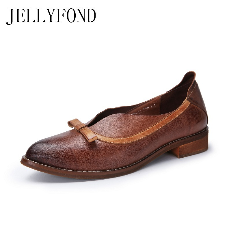 JELLYFOND Handmade Nature Skin Women Flats 2018 Vintage Style Pointed Toe Bow Genuine Leather Loafers Designer Shoes Woman 2017 vintage style real leather women flats brife pointed toe slip on handmade genuine leather designer shoes woman