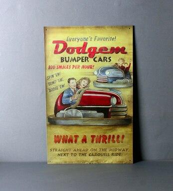 25x40CM Bumper Cars Vintage Home Decor Tin Sign for Wall Decor Metal ...